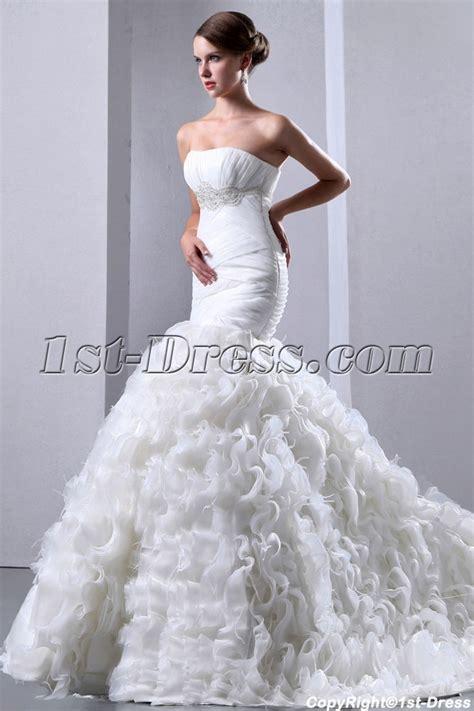 pretty mermaid wedding dresses pretty ruffle mermaid bridal gowns 2014 with ostrich