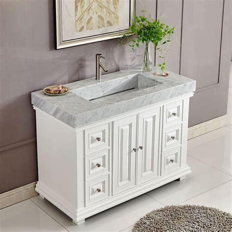 Marble Bathroom Vanity by 48 Inch White Finish Contemporary Bathroom Vanity