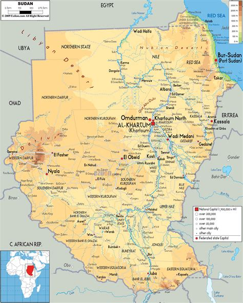 map of sudan physical map of sudan ezilon maps