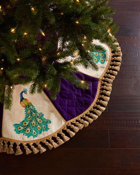 peking handicraft peacock needlepoint christmas tree skirt