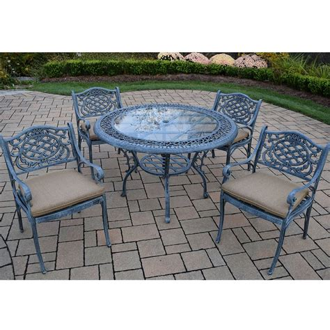 Cast Aluminum Patio Table And Chairs Oakland Living Mississippi 5pc Cast Aluminum Patio Dining Set With 48 Quot Table And 4