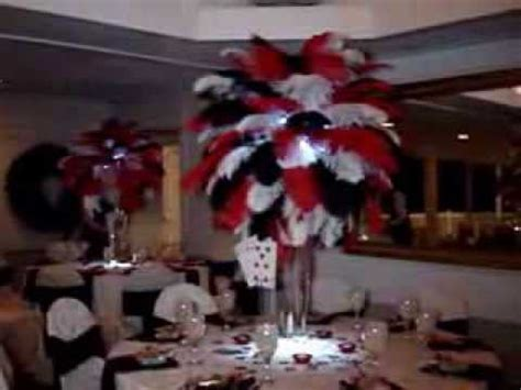 Rent Vegas Themed Ostrich Feathers In Red Black White Vegas Themed Centerpieces