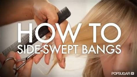 how to trim your own bangs side swept cut your own side swept bangs at home videos bangs and