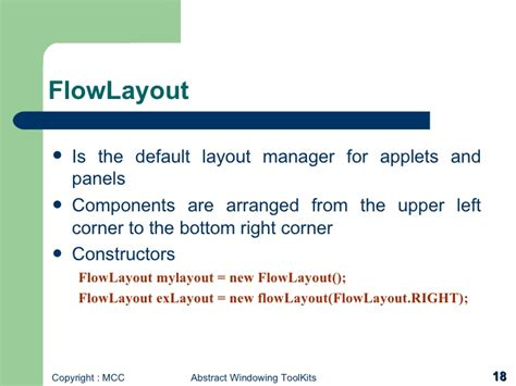 layout manager for applet windows programming with awt