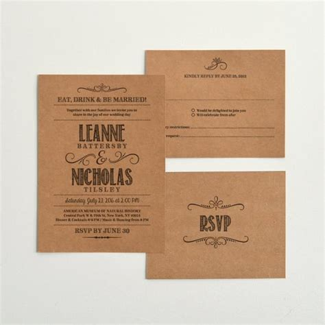 paper invitation templates kraft paper wedding invitation reply templates