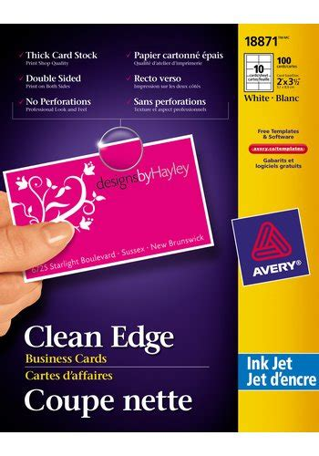 avery clean edge business cards template avery 174 18871 clean edge 174 business cards 2 quot x 3 1 2
