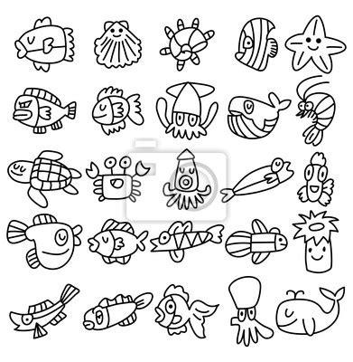 si鑒e free plakat ręcznie narysować akwarium ryb zestaw ikon na