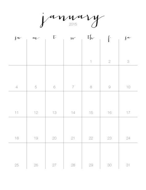 printable monthly wall calendar instant