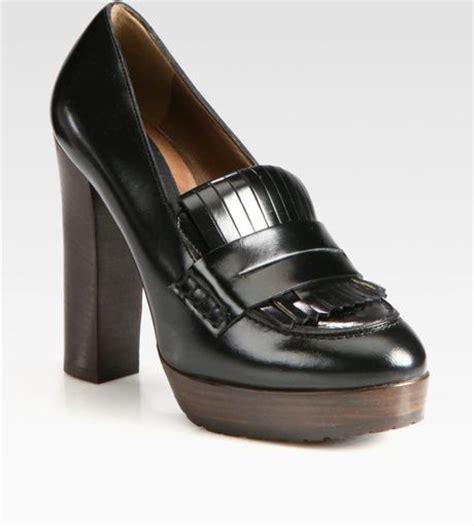 black loafer pumps marni leather loafer platform pumps in black lyst