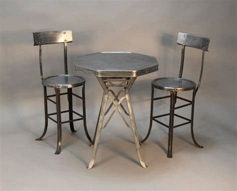 industrial dining table set industrial bistro table and chair set at 1stdibs