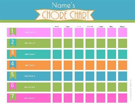 Chore Chart Template Chore Chart Template Word