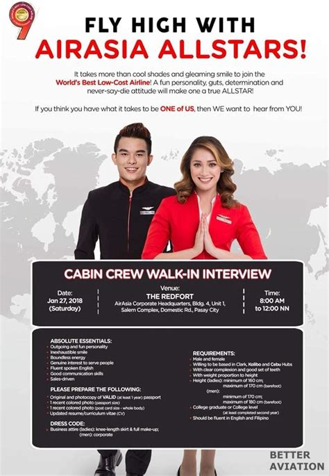 airasia walk in interview airasia philippines cabin crew walk in interview january