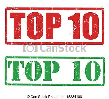 vector clipart of top 10 sts set of grunge rubber