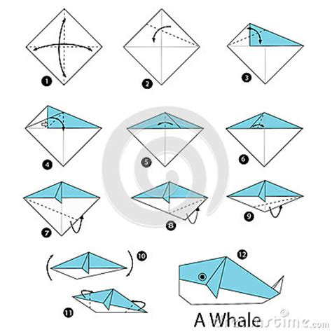 How To Make Paper Toys Step By Step - step by step how to make origami whale stock