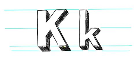 Letter K Drawing by How To Draw 3d Letters K Uppercase K And Lowercase K In