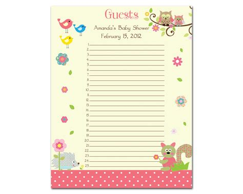 baby shower guest list template http www smartlistguide baby shower guest list