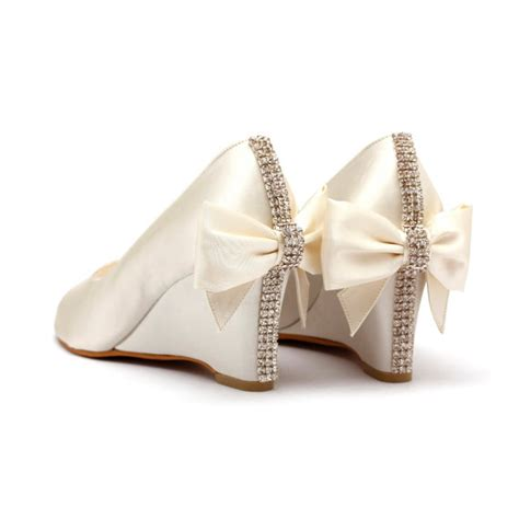 Chagne Wedges For Wedding by Items Similar To Ivory Rhinestone Wedding Shoes Ivory