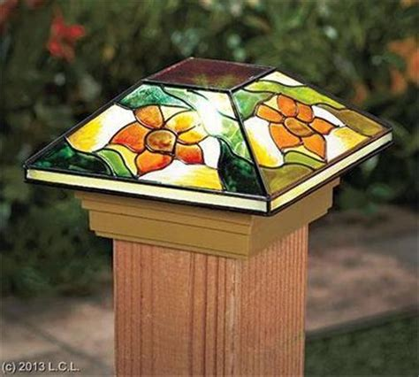 stained glass post light auto on solar post cap deck porch light w stained glass