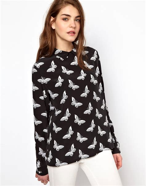 Buterfly Blouse equipment equipment grace button back blouse in butterfly print silk at asos