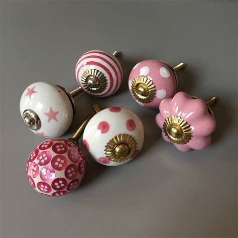 Pink Drawer Knobs by Set Of Assorted Pink Coloured Drawer Knobs By Grey