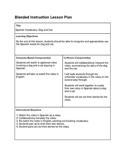 learn lesson plan template plan template