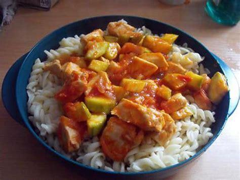 recette de pates au poulet courgettes et tomates