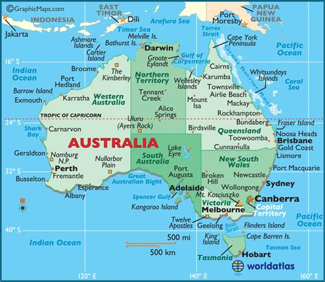 australa map australia large color map