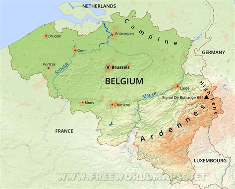 geographical map of belgium belgium physical map