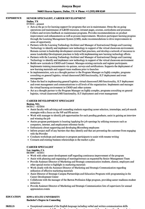 Specialist Resume by Career Specialist Resume Sles Velvet