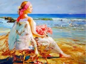 chica en la playa 1024x768 arte imgenes para fondos de pantalla cuadros modernos pinturas y dibujos 08 11 13