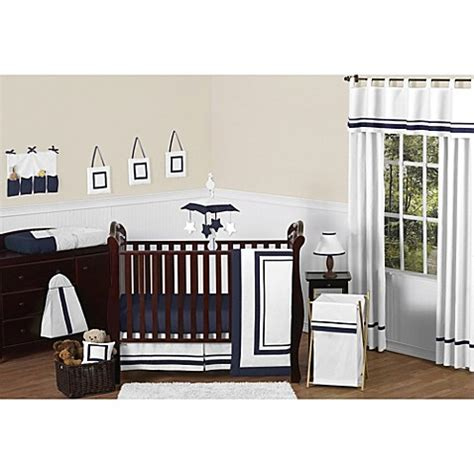 White And Navy Crib Bedding Sweet Jojo Designs Hotel 11 Crib Bedding Set In White Navy Bed Bath Beyond