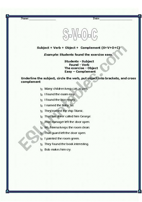 worksheets subject verb and complement