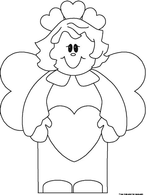 valentine angels coloring pages printable valentines day angel cards coloring in pages for