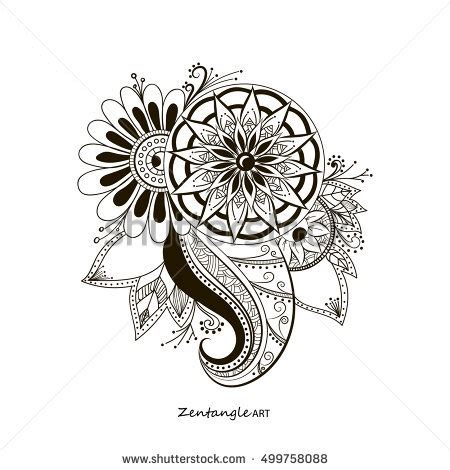 doodle alchemy flower digital abstract background stock vector 472555612