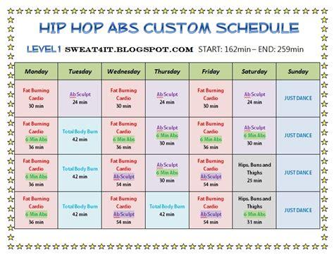 Hip Hop Abs Calendar Hip Hop Abs Schedule Month 1