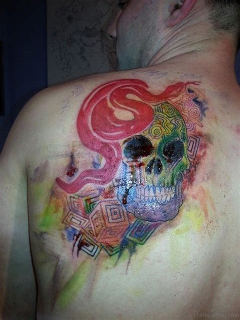 watercolor skull tattoo 45 awesome snake tattoos on back