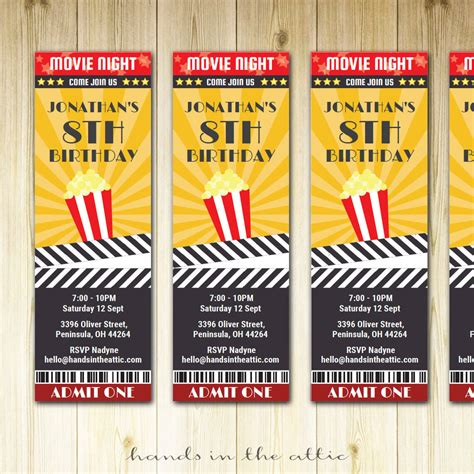 Movie Ticket Invitation Printable Template Hands In The Attic Printable Ticket Invitation Template
