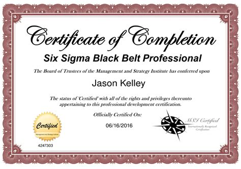 six sigma black belt certificate template innovations project manager attains six sigma black
