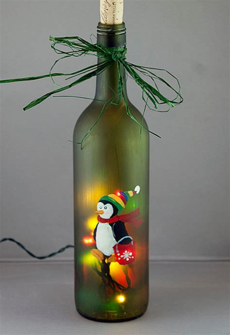 christmas wine vintage designed by arcadia floral home penguin ice bucket lighted wine bottle hand painted
