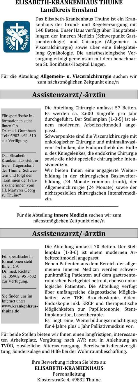Bewerbungsschreiben Assistenzarzt Innere Medizin Stellenangebot Assistenzarzt Innere Medizin Gastroenterologie In Thuine