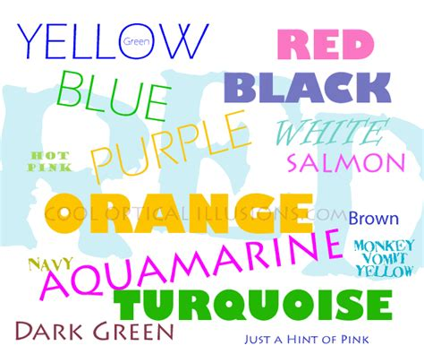 what is another word for color say the colors brain teaser cool optical illusions
