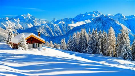 cottage in mountains منظره کوهستانی زیبا در زمستان beautiful mountain in winter