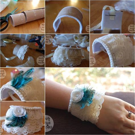 Craft Ideas Using Toilet Paper Rolls - how to diy lace cuff bracelet from toilet paper roll