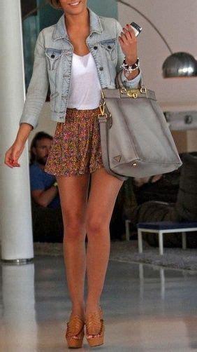denim jacket mini skirt platform sandals clothes casual