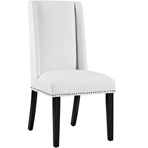 White Vinyl Dining Chairs Modway Baron White Vinyl Dining Chair Eei 2232 Whi The Home Depot