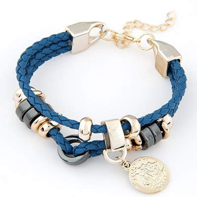 Gelang Korea Coin Shape Decorated Weave creative blue coin shape decorated weave design alloy