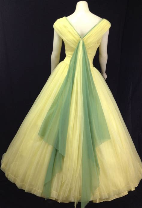 evening gown c 1950s vintage vintage 1950s gown yellow prom dress formal tulle