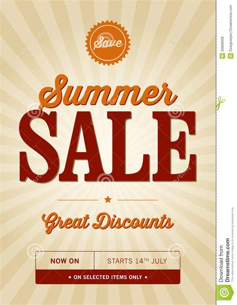 typography sles vintage summer sale design royalty free stock photos image 35868938