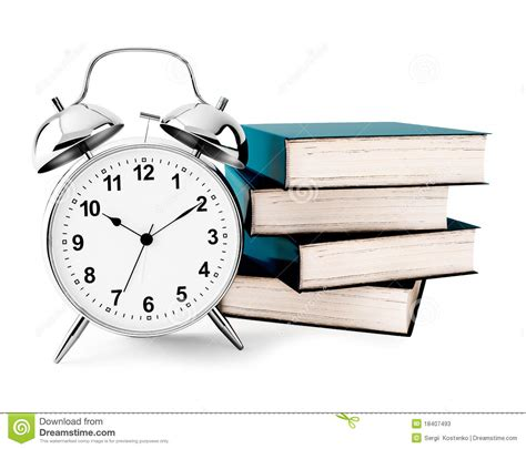 now is the time for dreams books alarm clock with books stock photos image 18407493