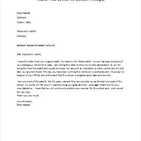 appreciation letter to principal formal official and professional letter templates part 4